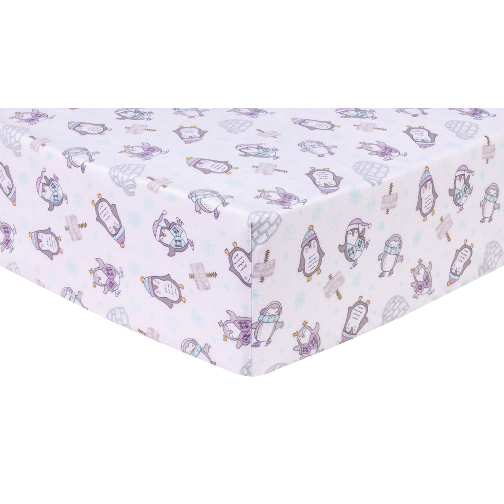 Happy Penguins Deluxe Flannel Fitted Crib Sheet Trend Lab, LLC