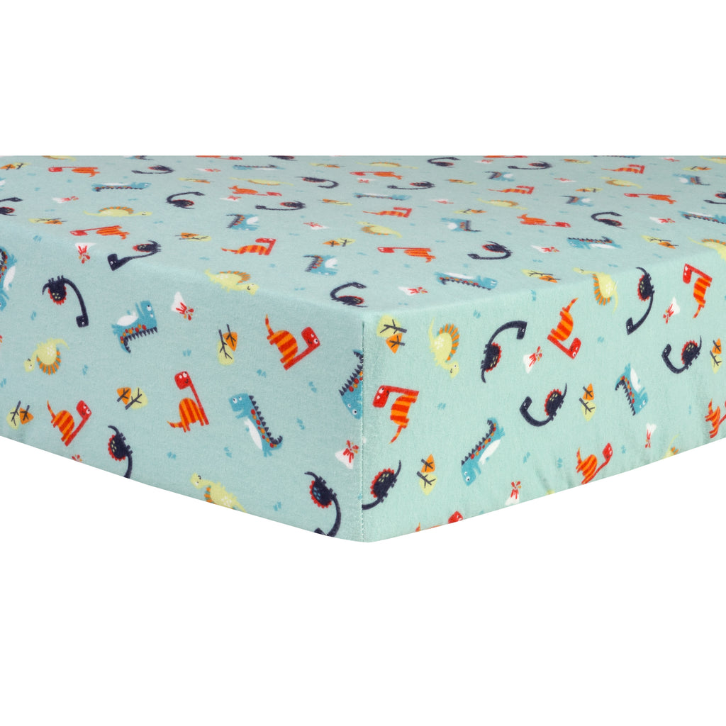 Dinosaurs Deluxe Flannel Fitted Crib Sheet Trend Lab, LLC