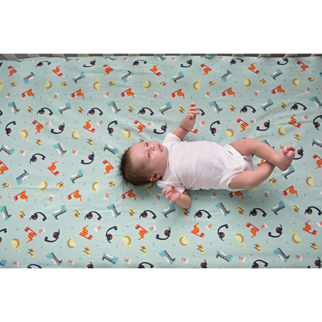 Dinosaurs Deluxe Flannel Fitted Crib Sheet