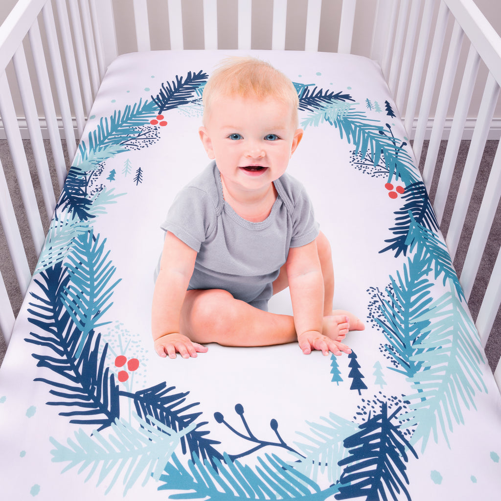 My Tiny Moments™ Spruce Wreath Flannel Photo Op Fitted Crib Sheet Trend Lab, LLC