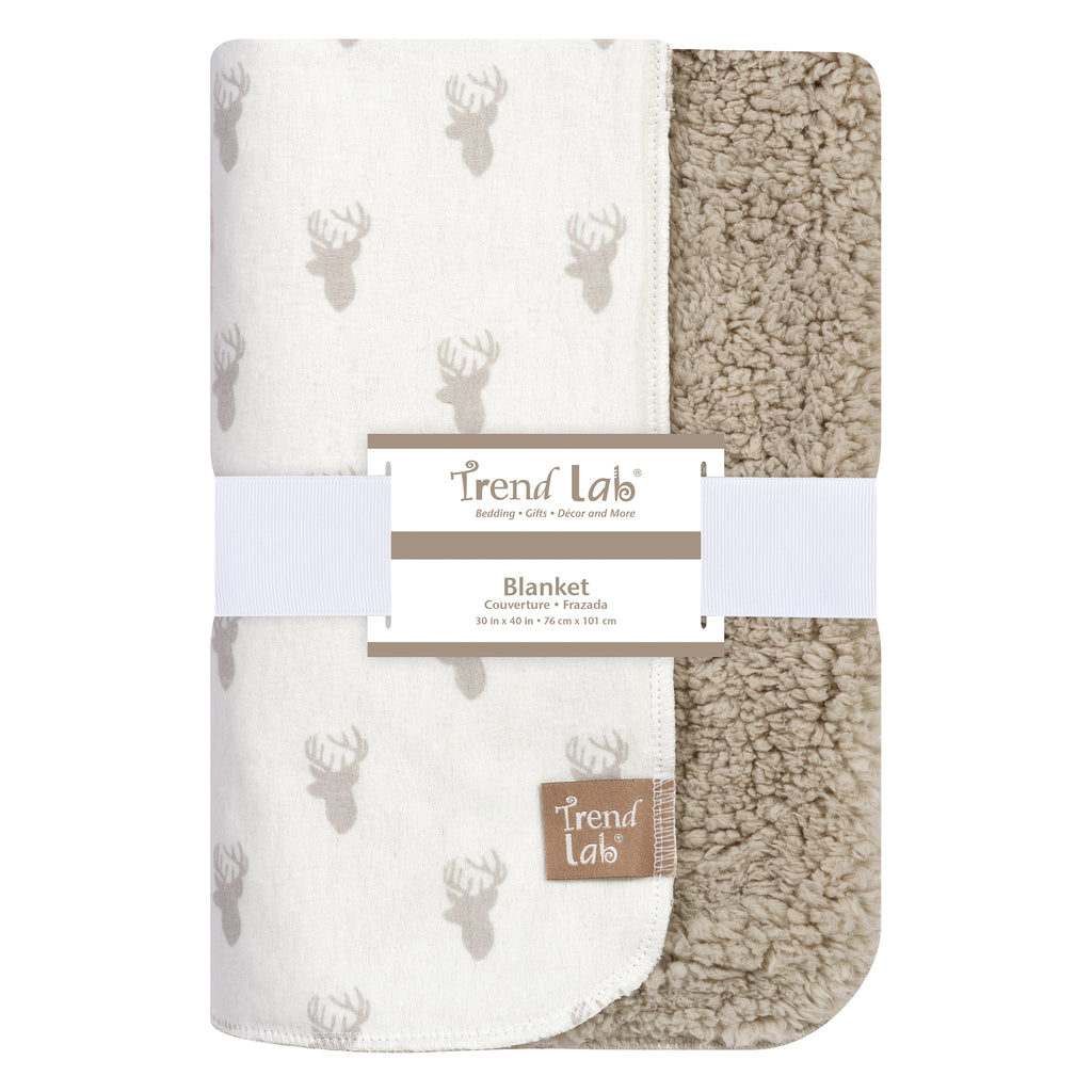 Gray Stag Head Flannel and Faux Shearling Blanket103188$19.99Trend Lab