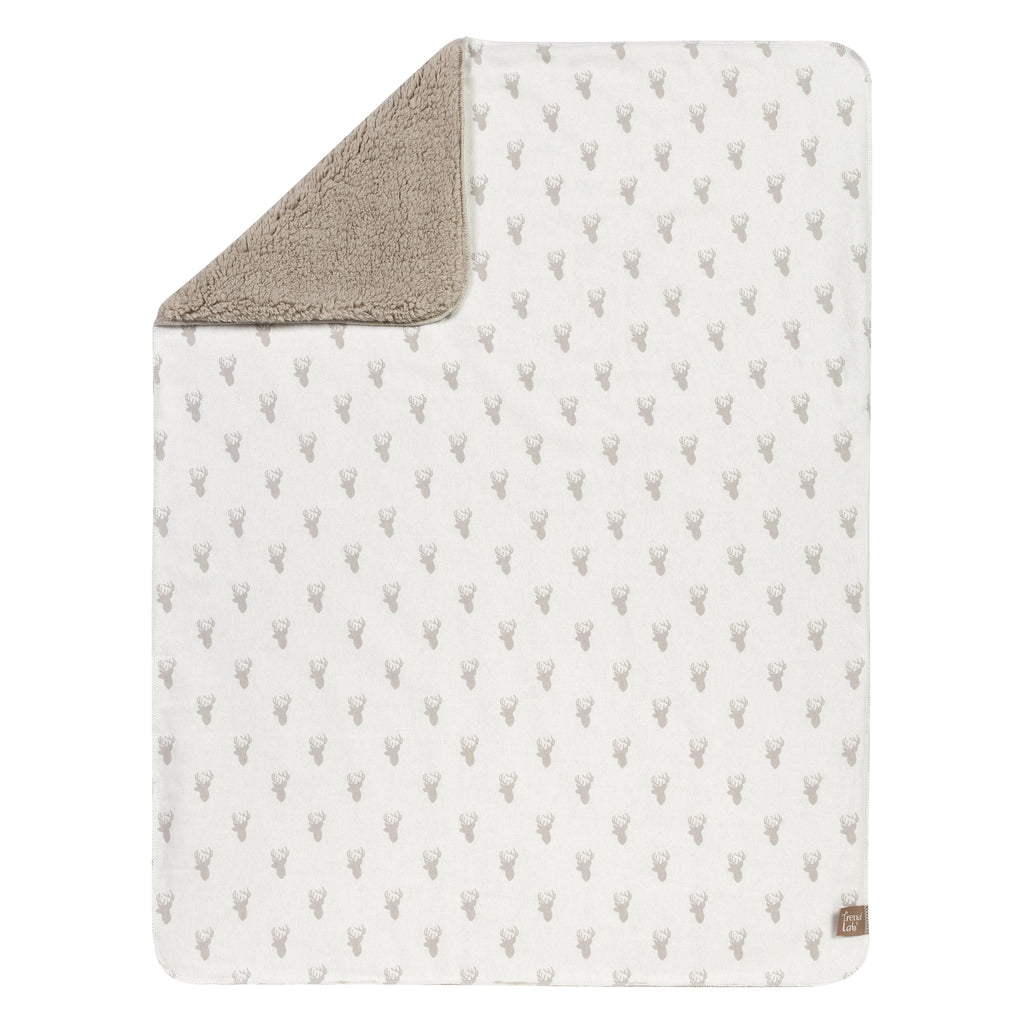 Gray Stag Head Flannel and Faux Shearling Blanket Trend Lab, LLC