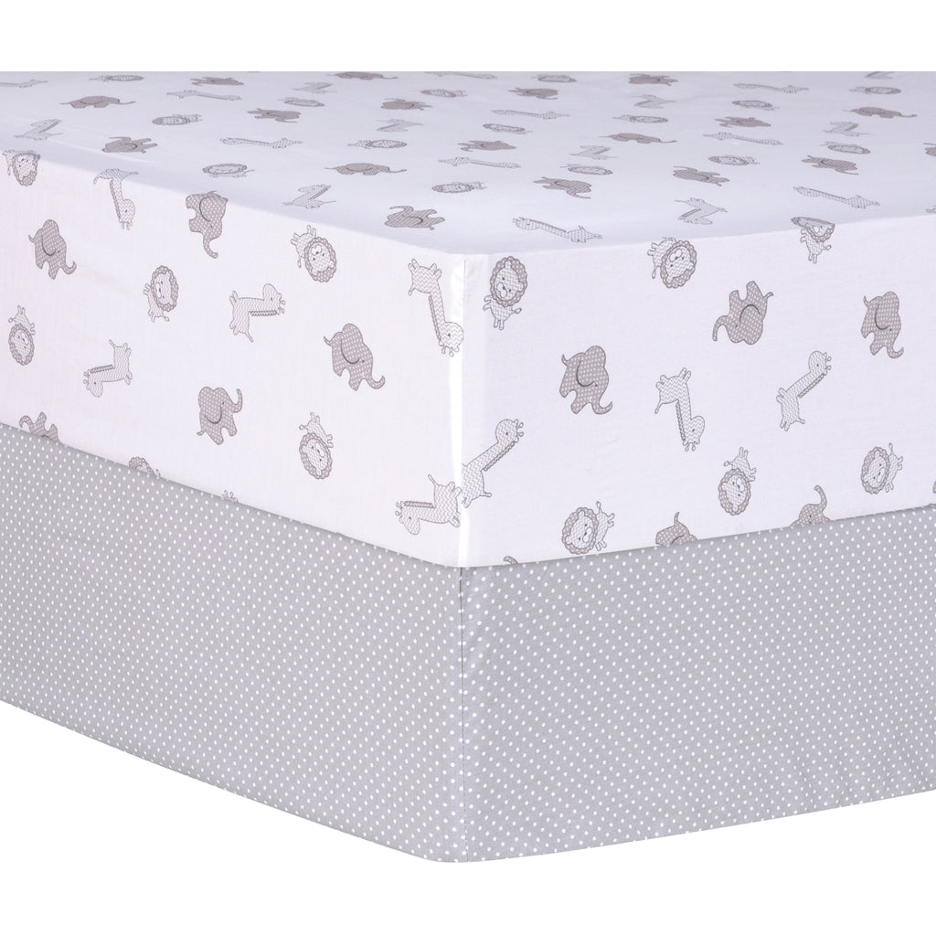 Gray Safari and Dot 2 Pack Fitted Crib Sheets Trend Lab, LLC