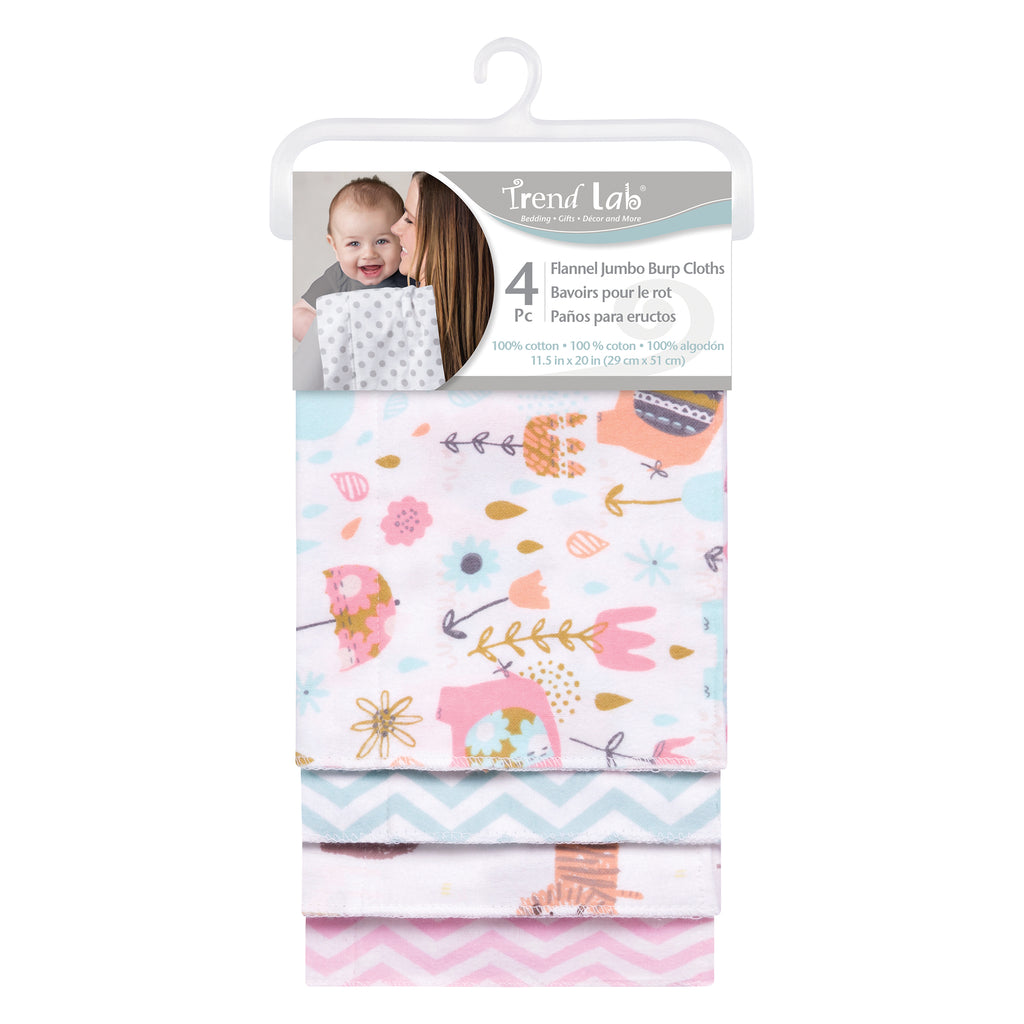 Elephants and Jungle Animals 4 Pack Flannel Burp Cloth Set103197$12.99Trend Lab