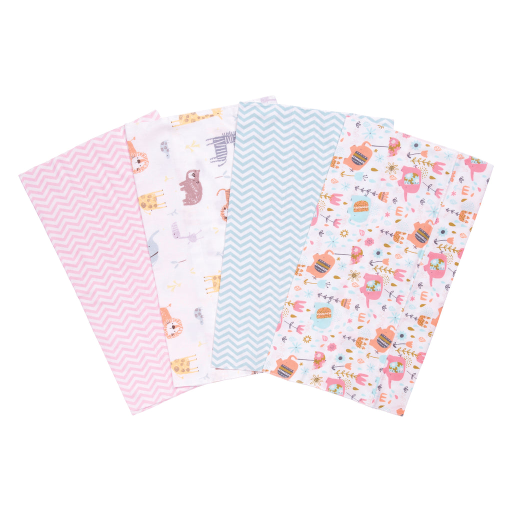 Elephants and Jungle Animals 4 Pack Flannel Burp Cloth Set Trend Lab, LLC