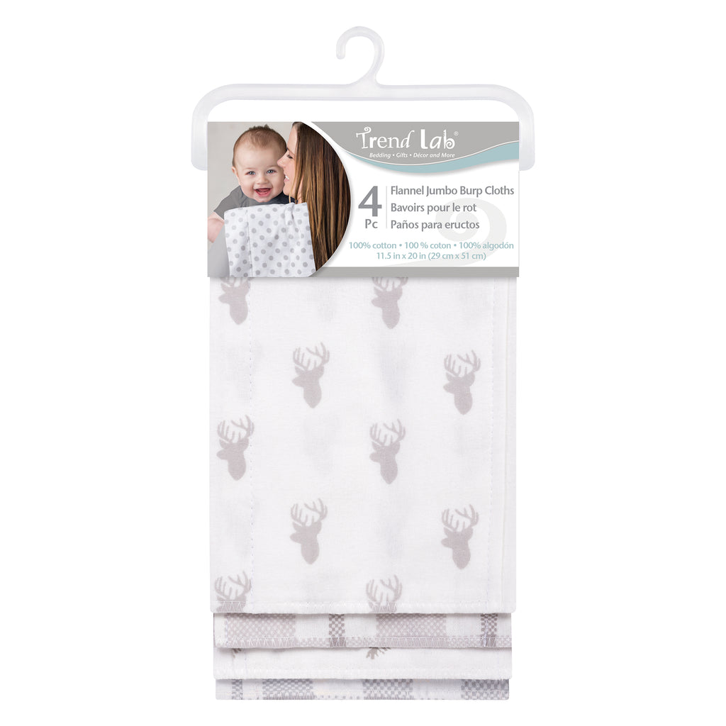 Stag and Moose 4 Pack Flannel Burp Cloth Set