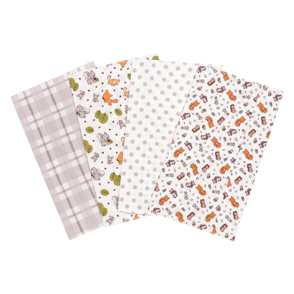 Wild Bunch 4 Pack Flannel Burp Cloth Set Trend Lab, LLC