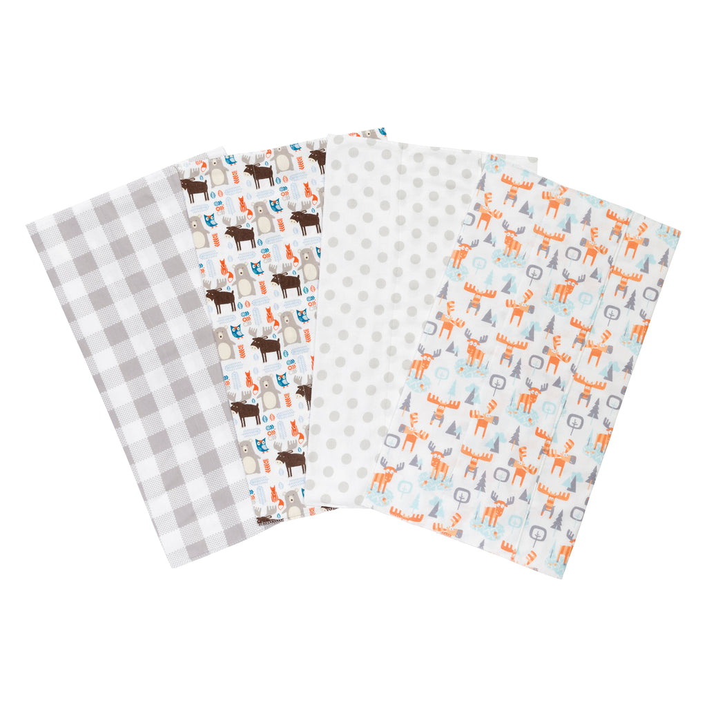 Scandi Moose 4-Pack Flannel Burp Cloth Set Trend Lab, LLC