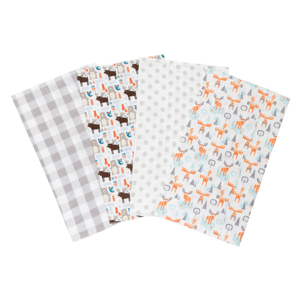 Scandi Moose 4 Pack Flannel Burp Cloth Set Trend Lab Llc
