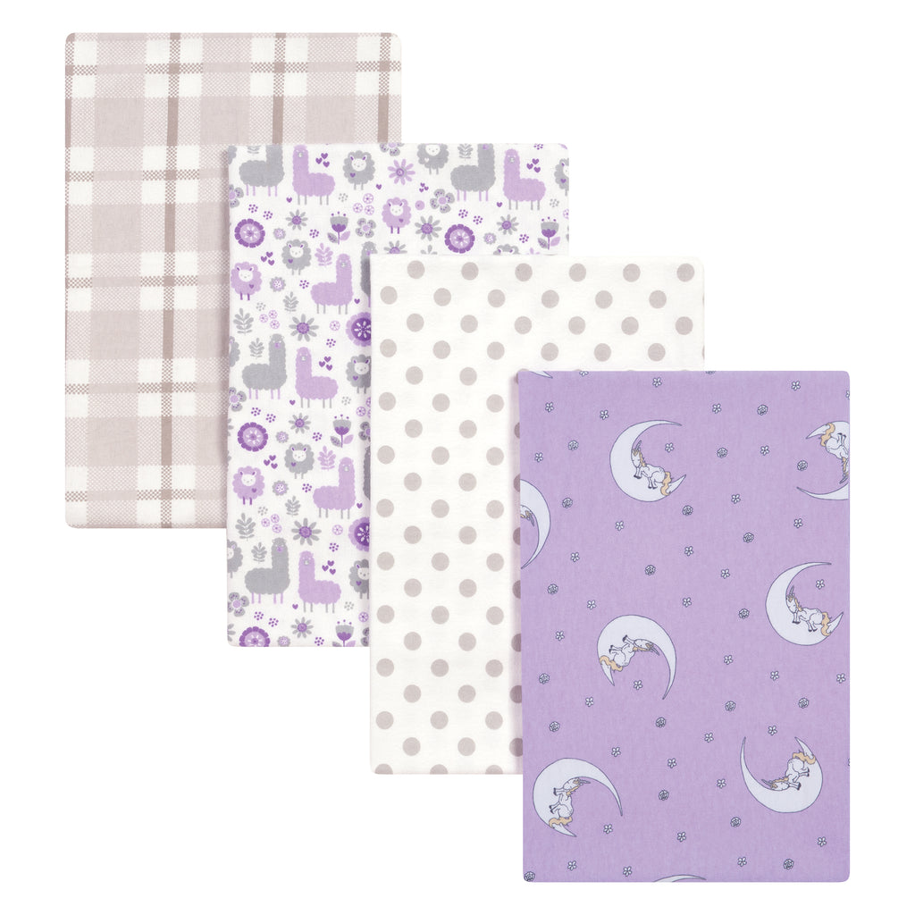 Llamas and Unicorns 4 Pack Flannel Blankets Trend Lab, LLC