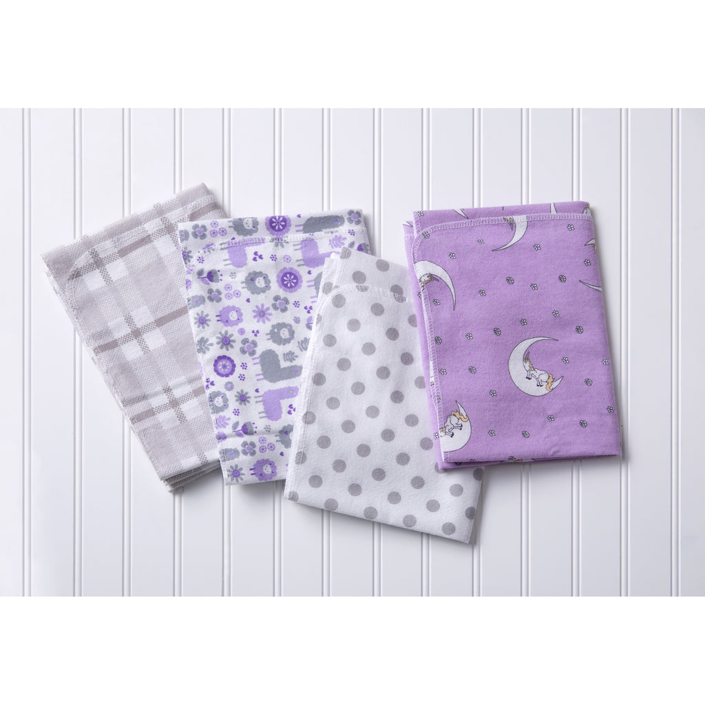 Llamas and Unicorns 4 Pack Flannel Blankets