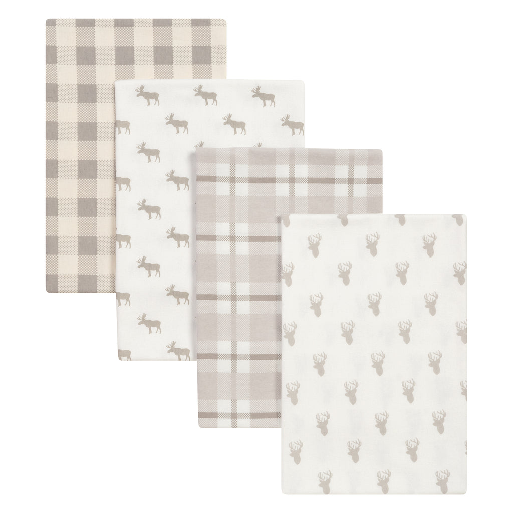Stag and Moose 4 Pack Flannel Blankets Trend Lab, LLC
