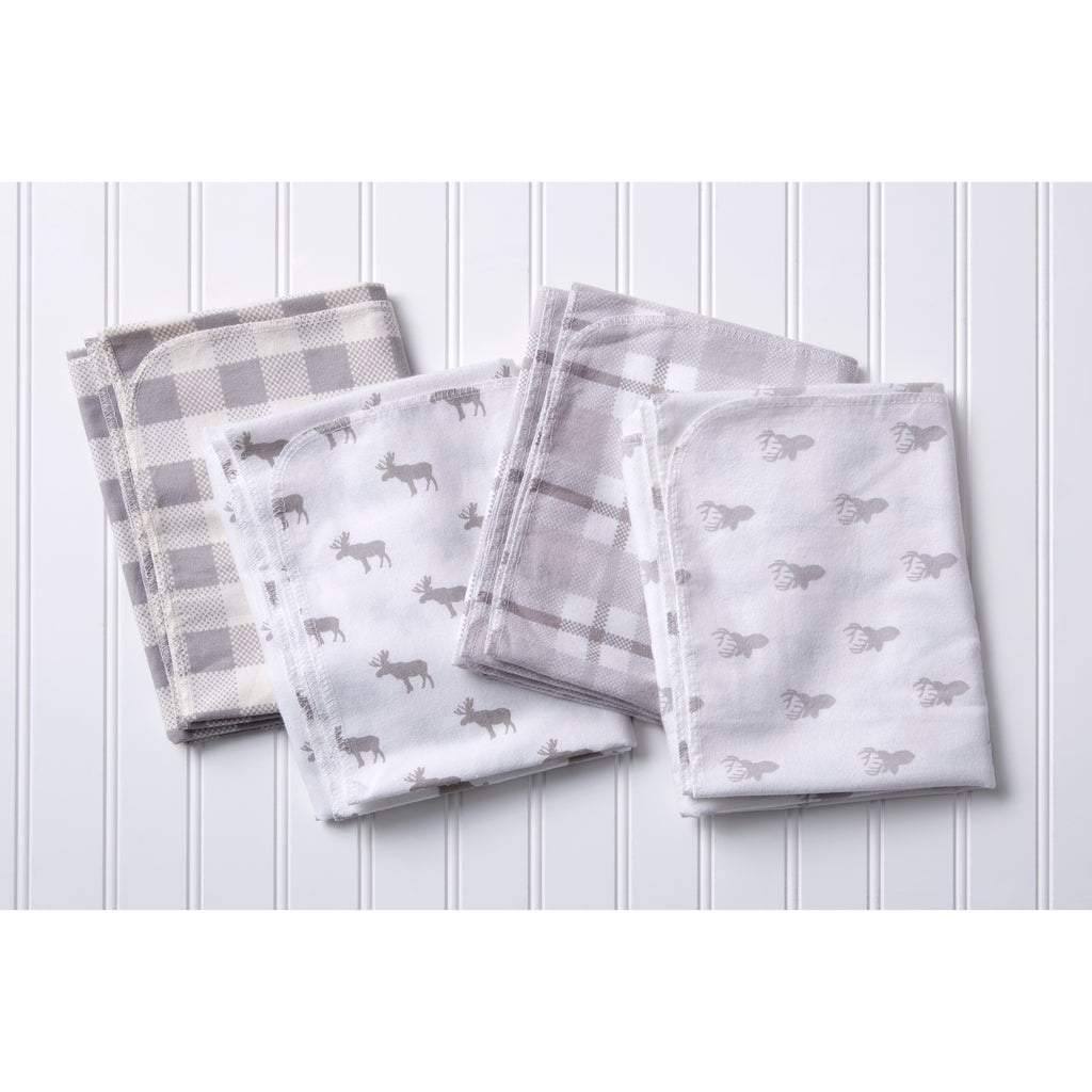 Stag and Moose 4 Pack Flannel Blankets