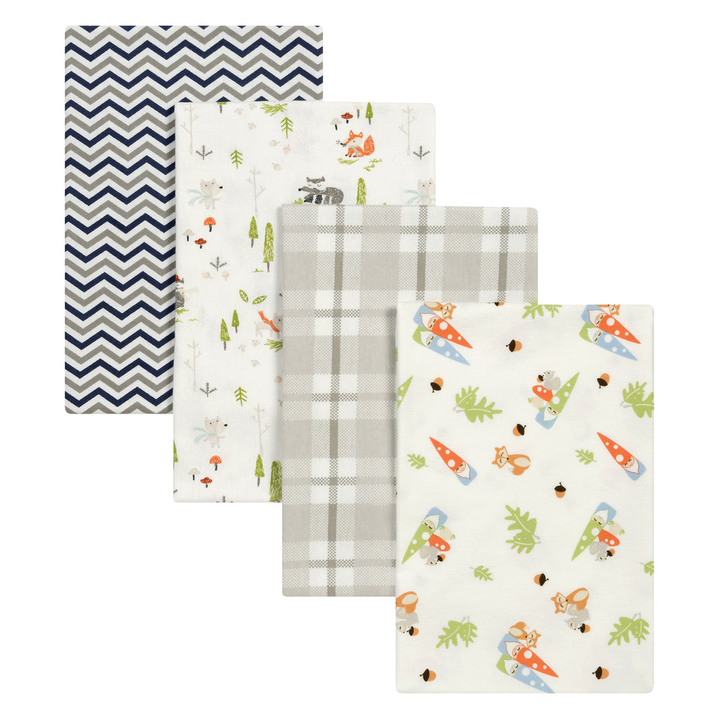 Woodsy Gnomes 4 Pack Flannel Blankets Trend Lab, LLC
