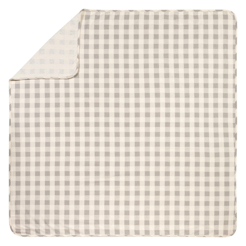 Gray and Cream Buffalo Check Jumbo Deluxe Flannel Swaddle Blanket Trend Lab, LLC