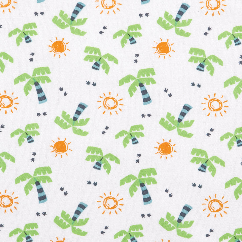 Dinosaur Palm Deluxe Flannel Fitted Crib Sheet
