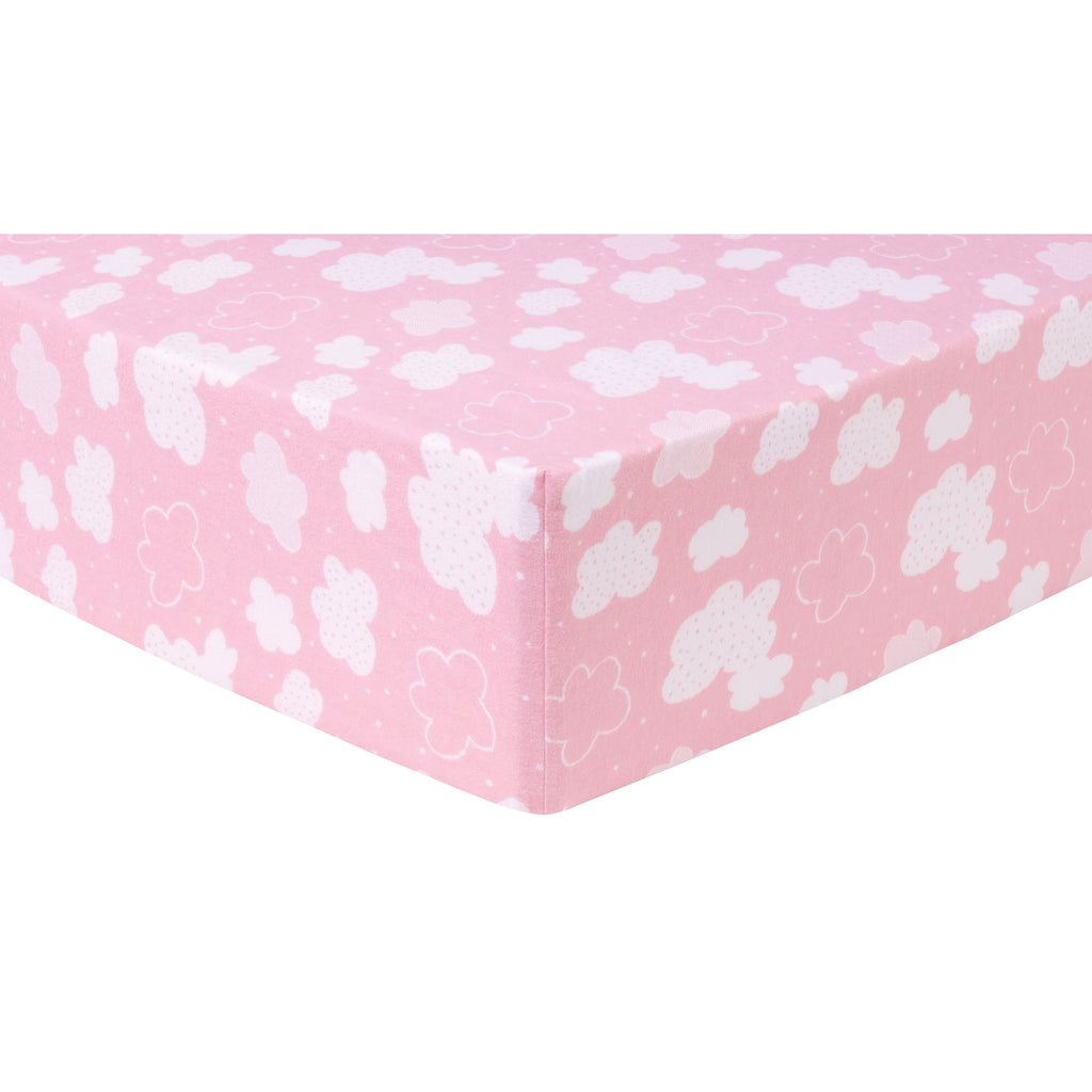 Pink Clouds Deluxe Flannel Fitted Crib Sheet