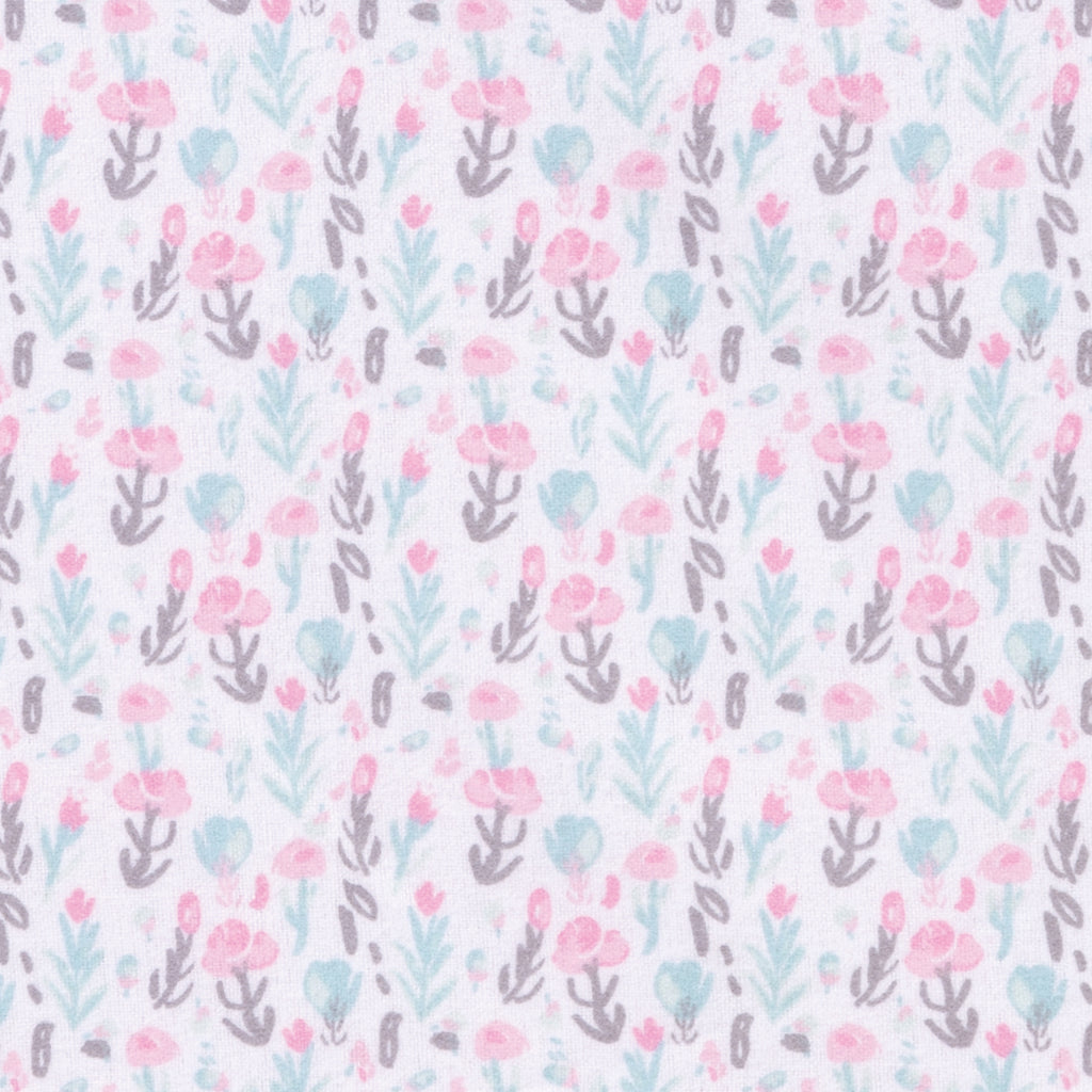 Pastel Painterly Floral Deluxe Flannel Fitted Crib Sheet