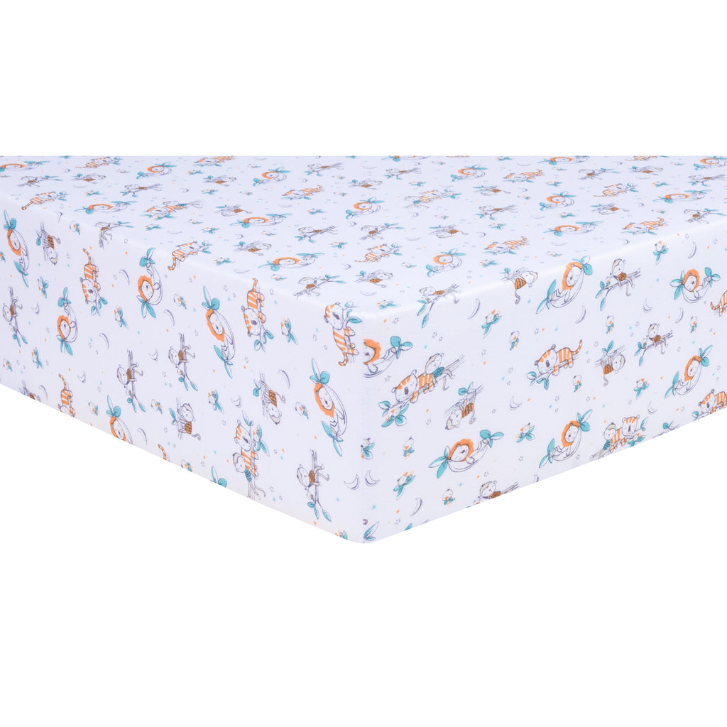 Safari Nap Time Jersey Fitted Crib Sheet
