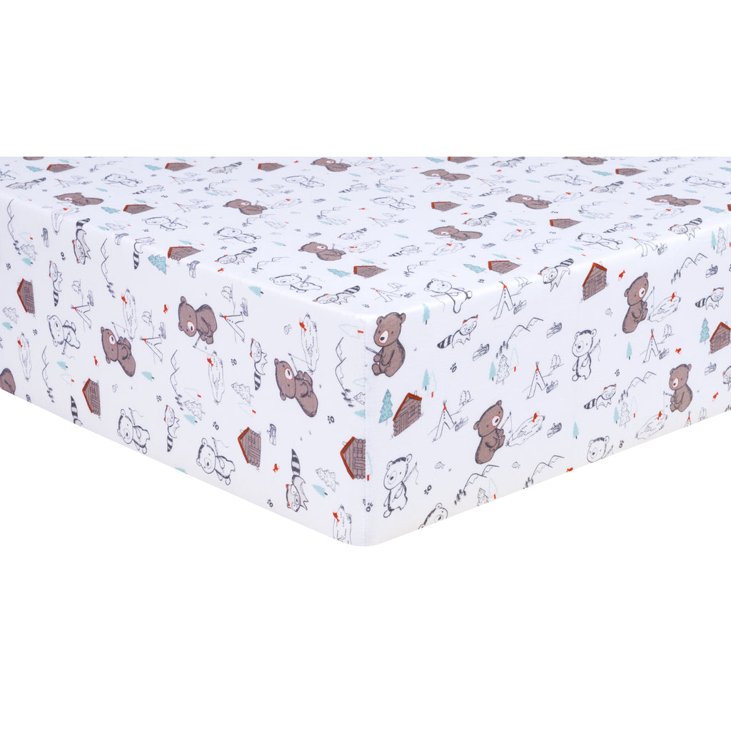 Fishing Bears Jersey Fitted Crib Sheet
