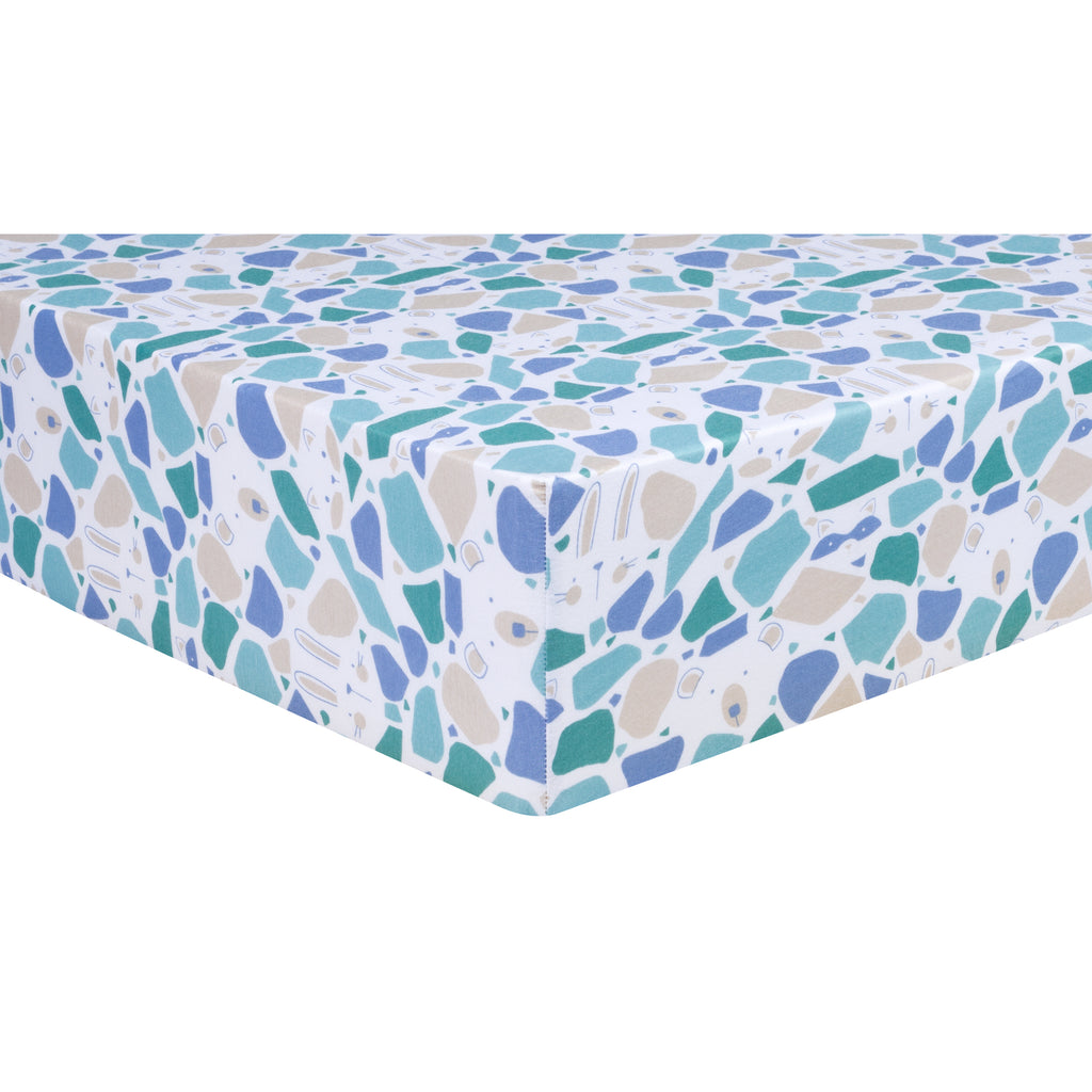 Terrazzo Forest Jersey Fitted Crib Sheet
