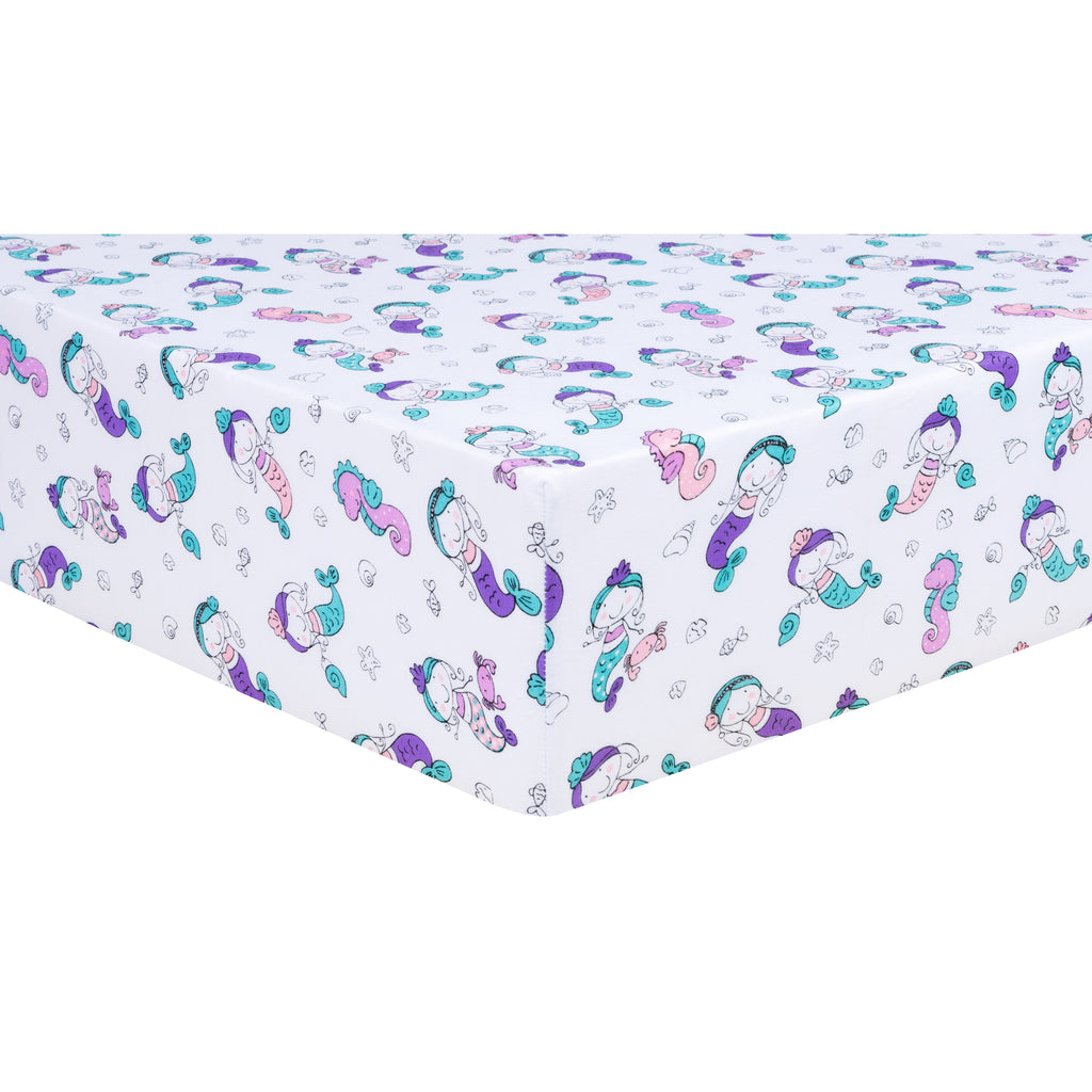 Mermaids Jersey Fitted Crib Sheet Trend Lab, LLC