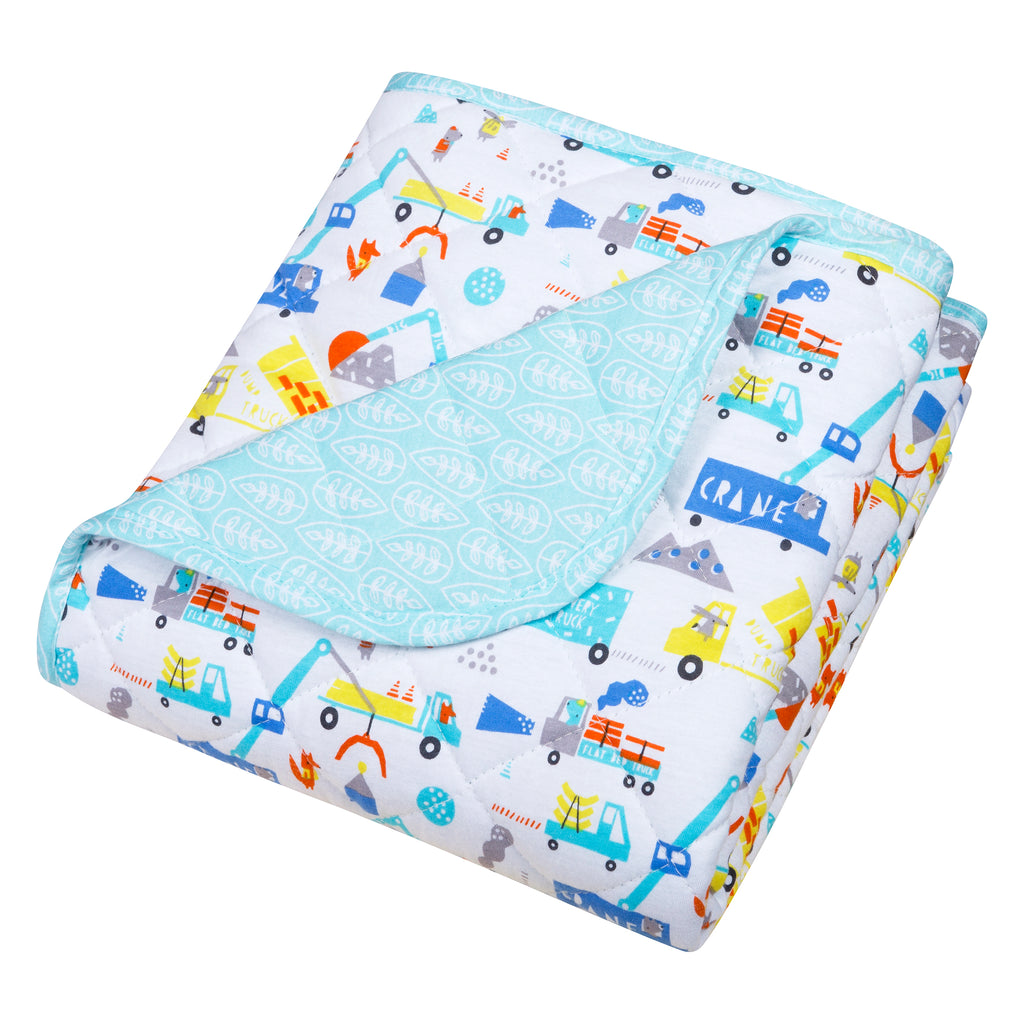 Construction Digger Reversible Jersey Crib Quilt