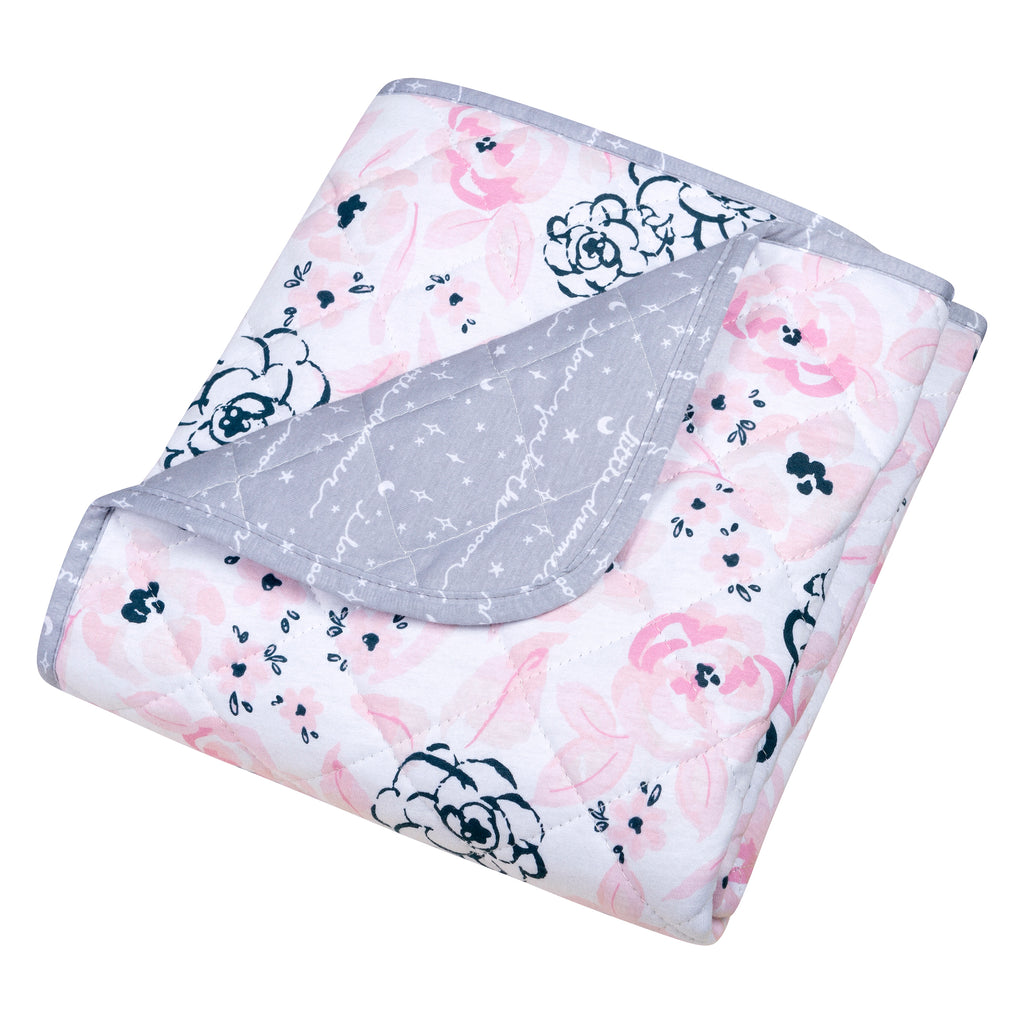 Watercolor Floral Reversible Jersey Crib Quilt