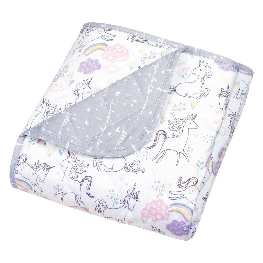 Playful Unicorns Reversible Jersey Crib Quilt