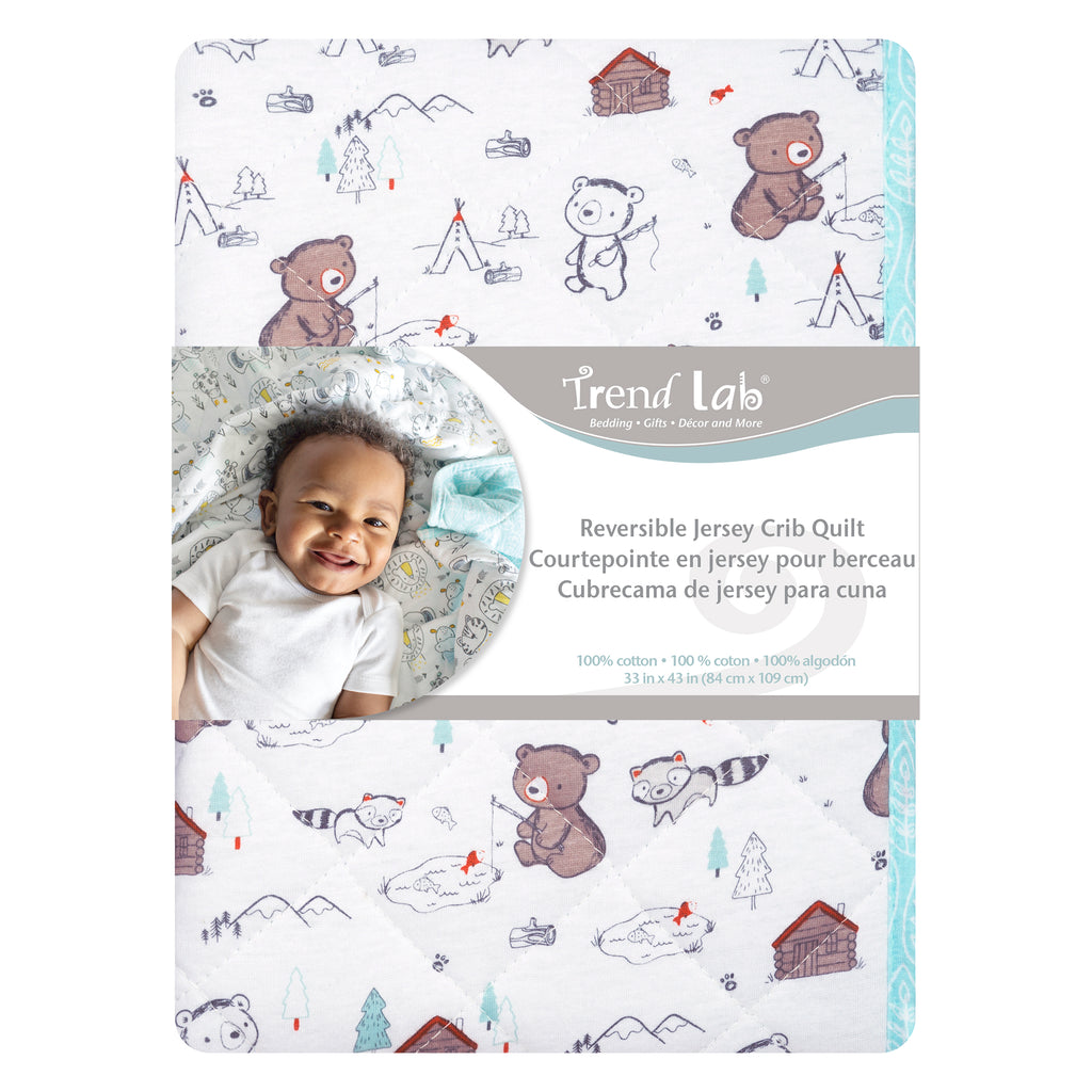 Fishing Bears Reversible Jersey Crib Quilt103348$21.99Trend Lab