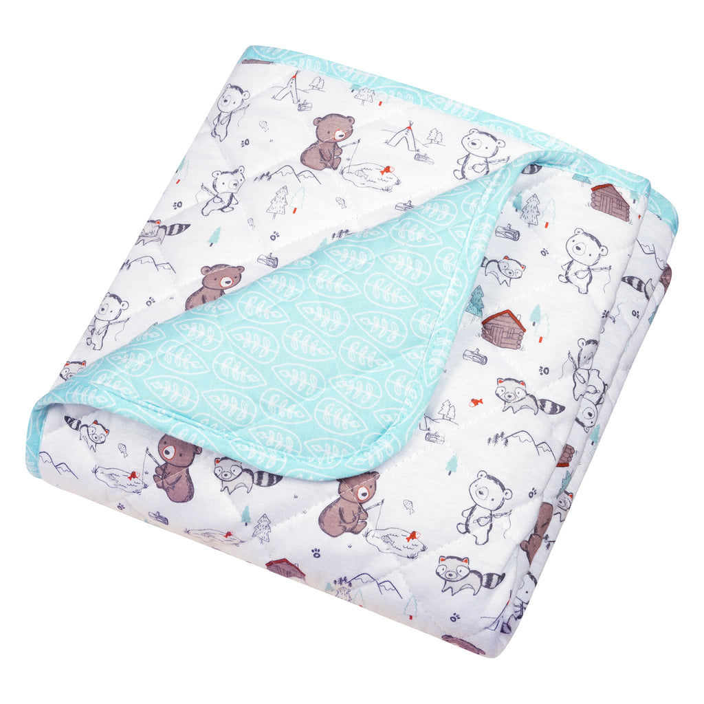 Fishing Bears Reversible Jersey Crib Quilt