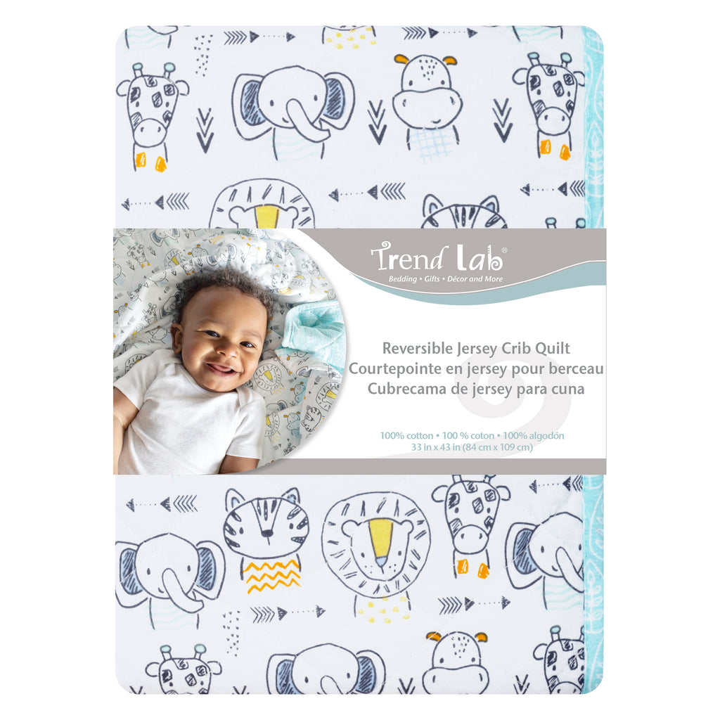 Safari Yearbook Reversible Jersey Crib Quilt Trend Lab, LLC