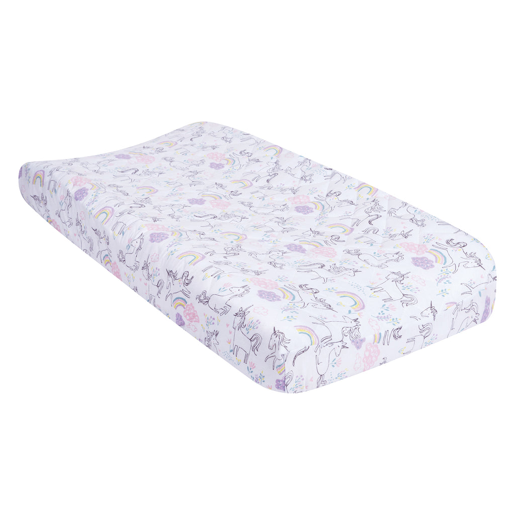 Playful Unicorns Quilted Jersey Changing Pad Cover
