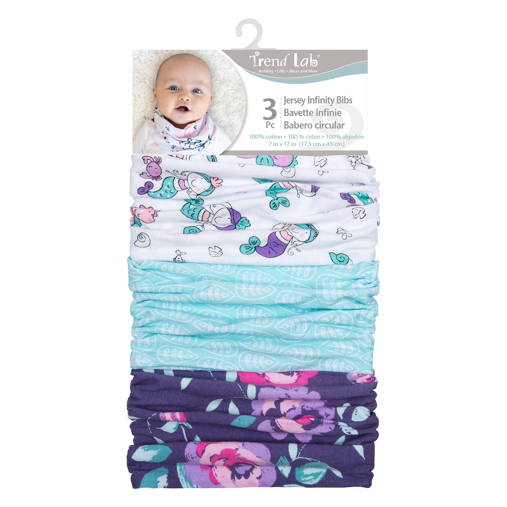Mermaids 3 Pack Jersey Infinity Bib Set Trend Lab, LLC