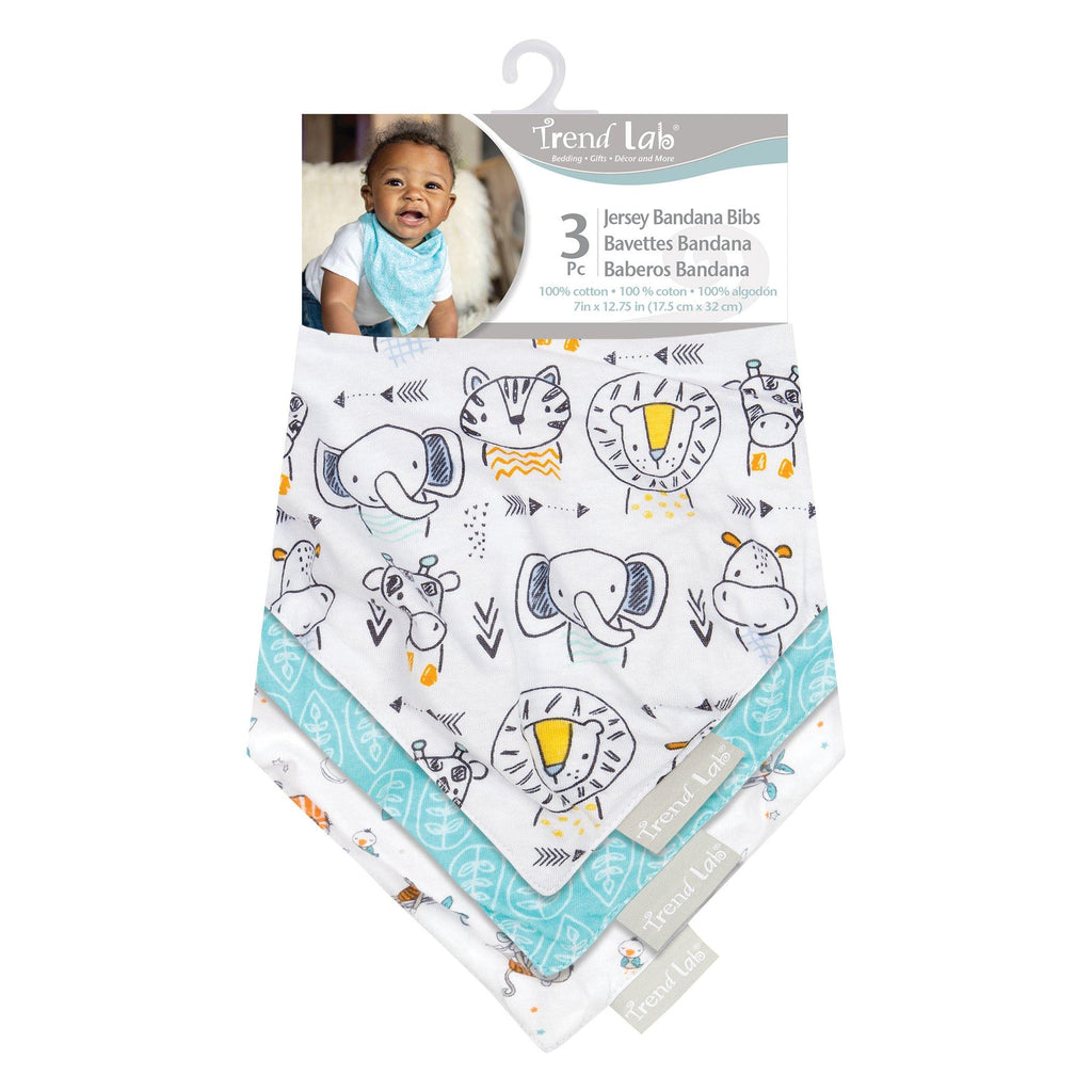 Baby Safari 3 Pack Jersey Bandana Bib Set Trend Lab, LLC