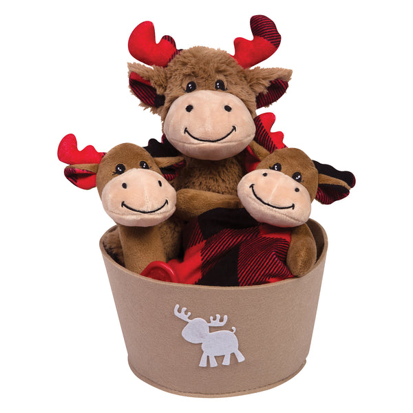 Buffalo Check Moose 4 Piece Plush Gift Set Bucket Trend