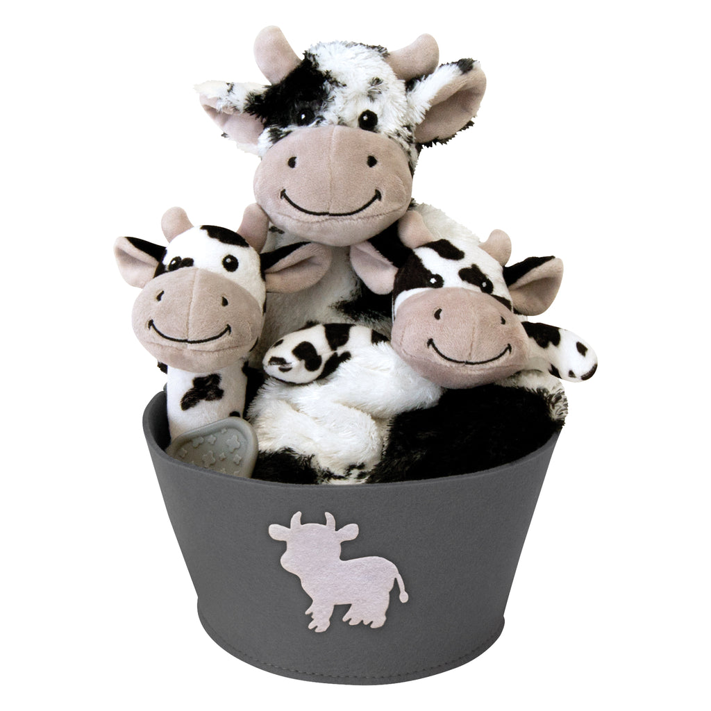 Cow 4 Piece Plush Gift Set Bucket