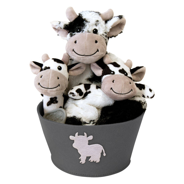 Cow 4 Piece Plush Gift Set Bucket Trend Lab Llc