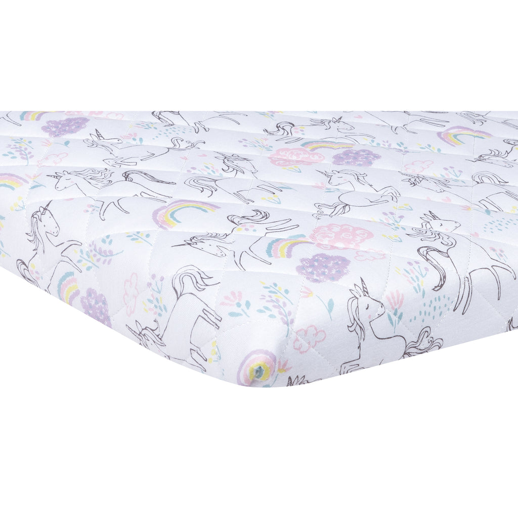 Playful Unicorns Quilted Jersey Playard Sheet