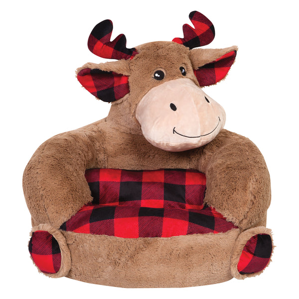Children S Plush Buffalo Check Moose Character Chair