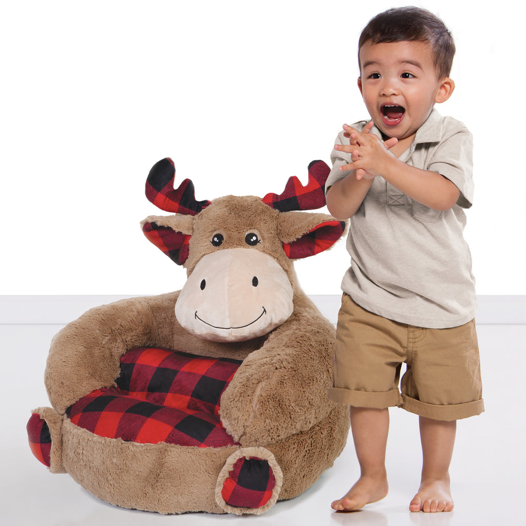 Children's Plush Buffalo Check Moose Character Chair