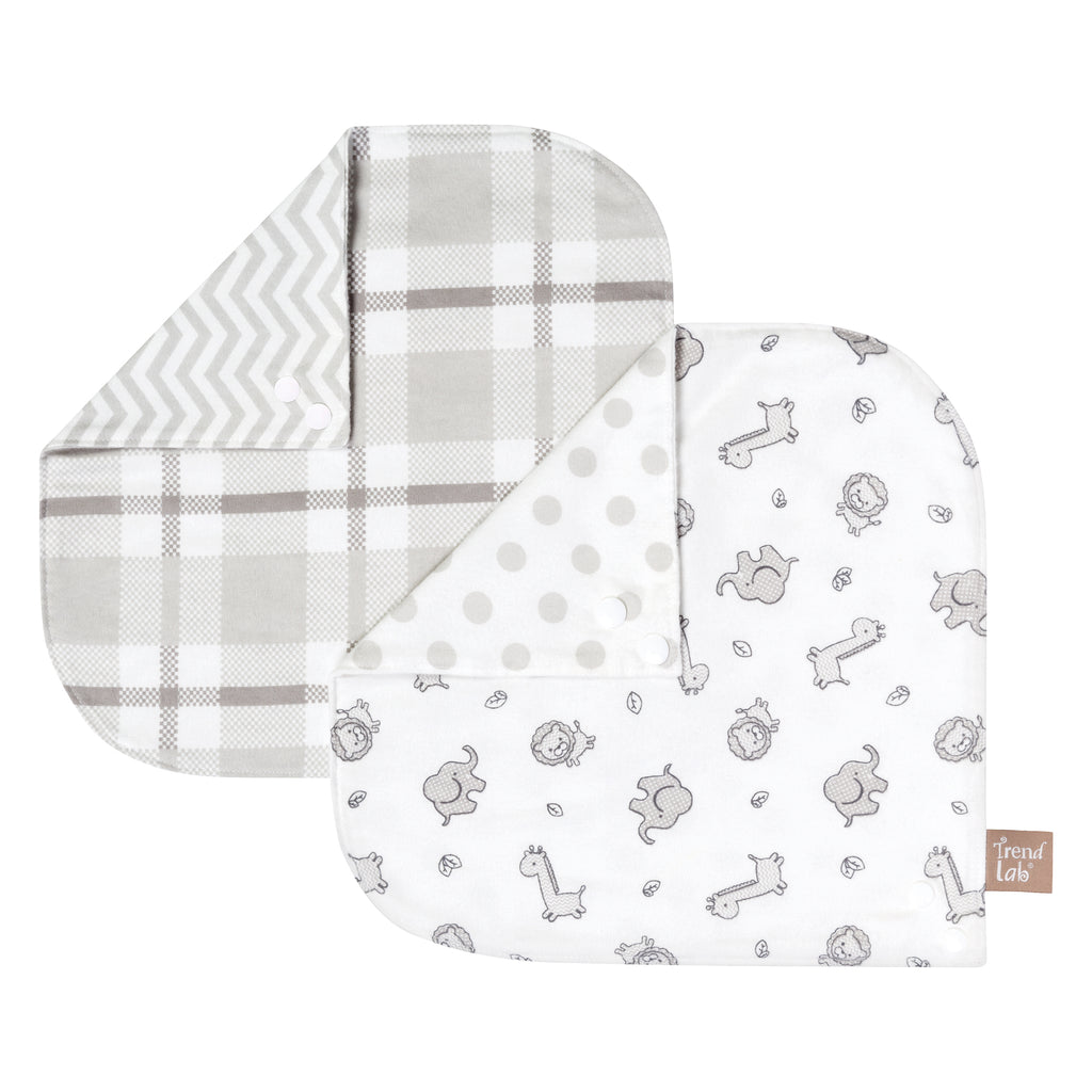 Safari Chevron 2 Pack Reversible Flannel Bandana Bib Set Trend Lab, LLC