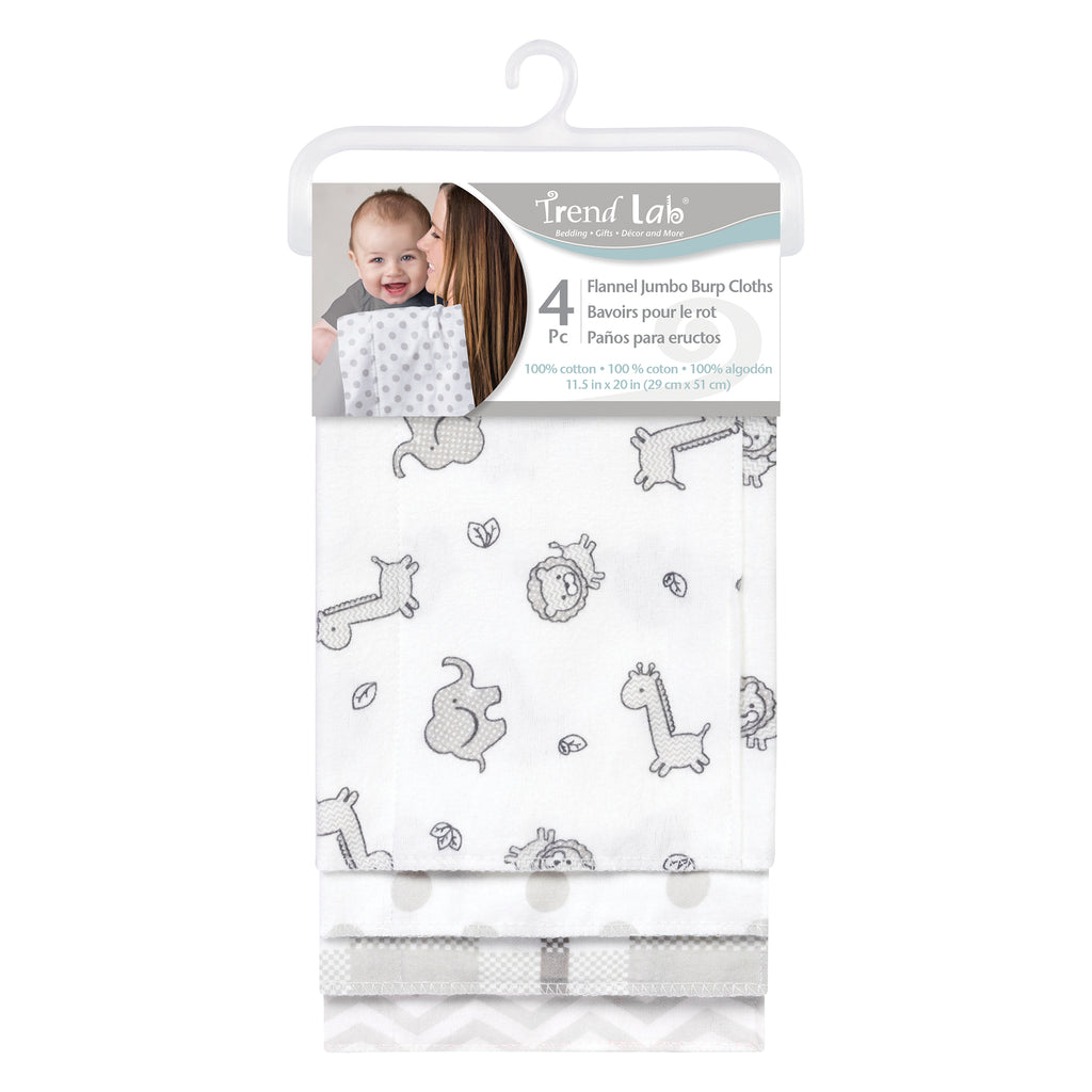 Safari Chevron 4 Pack Flannel Burp Cloth Set