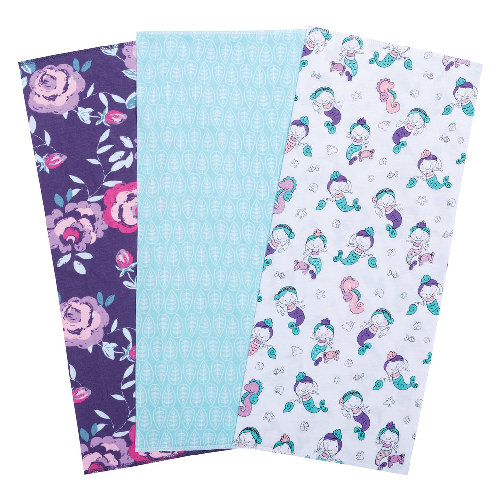 Mermaids 3 Pack Jersey Burp Cloth Set Trend Lab, LLC