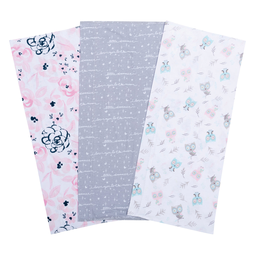 Owls and Flowers 3 Pack Jersey Burp Cloth Set