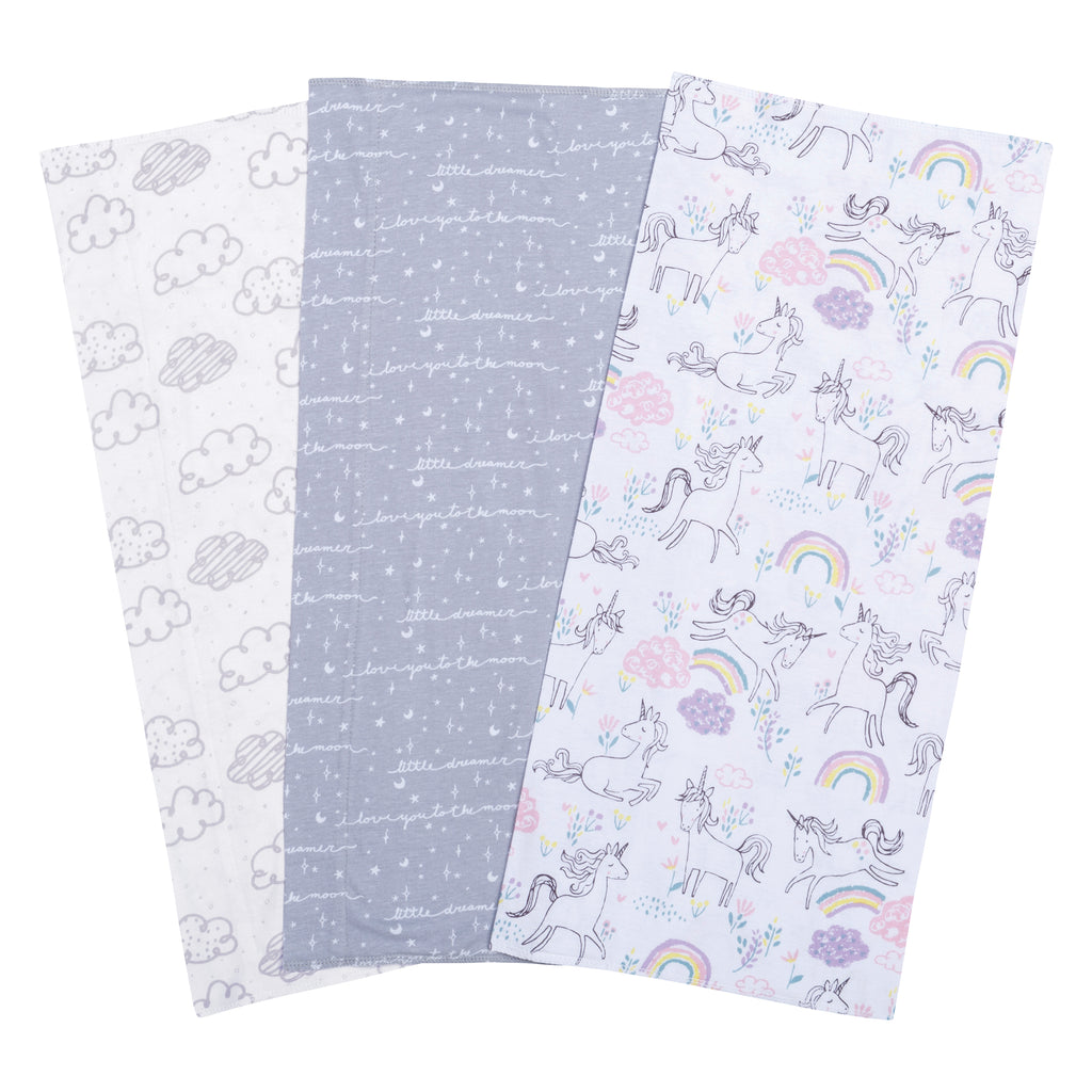 Unicorn Dreamer 3 Pack Jersey Burp Cloth Set Trend Lab, LLC
