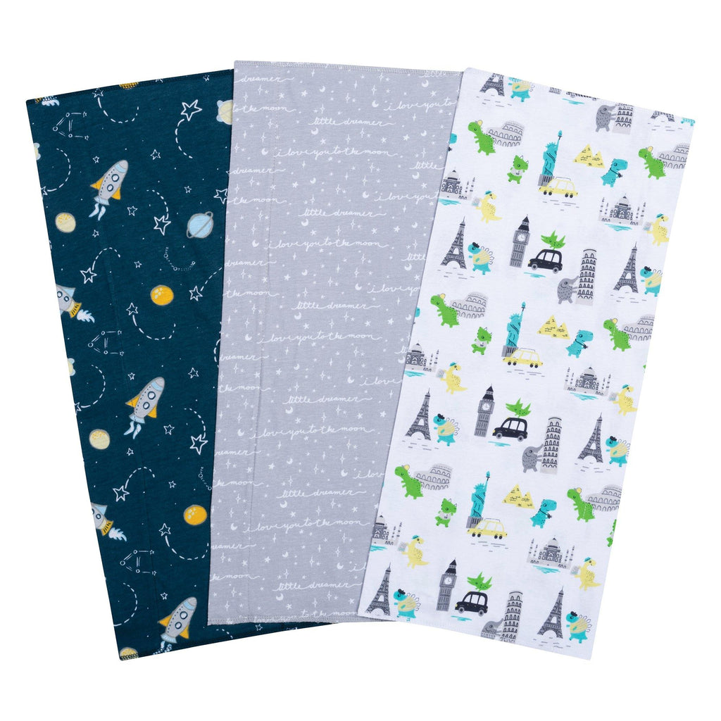 Baby Traveler 3 Pack Jersey Burp Cloth Set