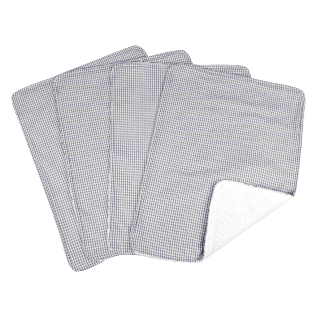 Gingham Seersucker Gray 4 Pack Burp Cloth Set Trend Lab, LLC