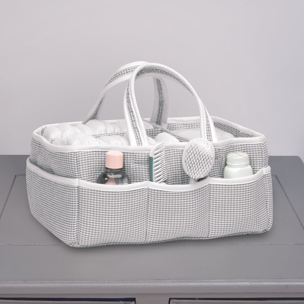 Gingham Seersucker Gray Storage Caddy Trend Lab, LLC