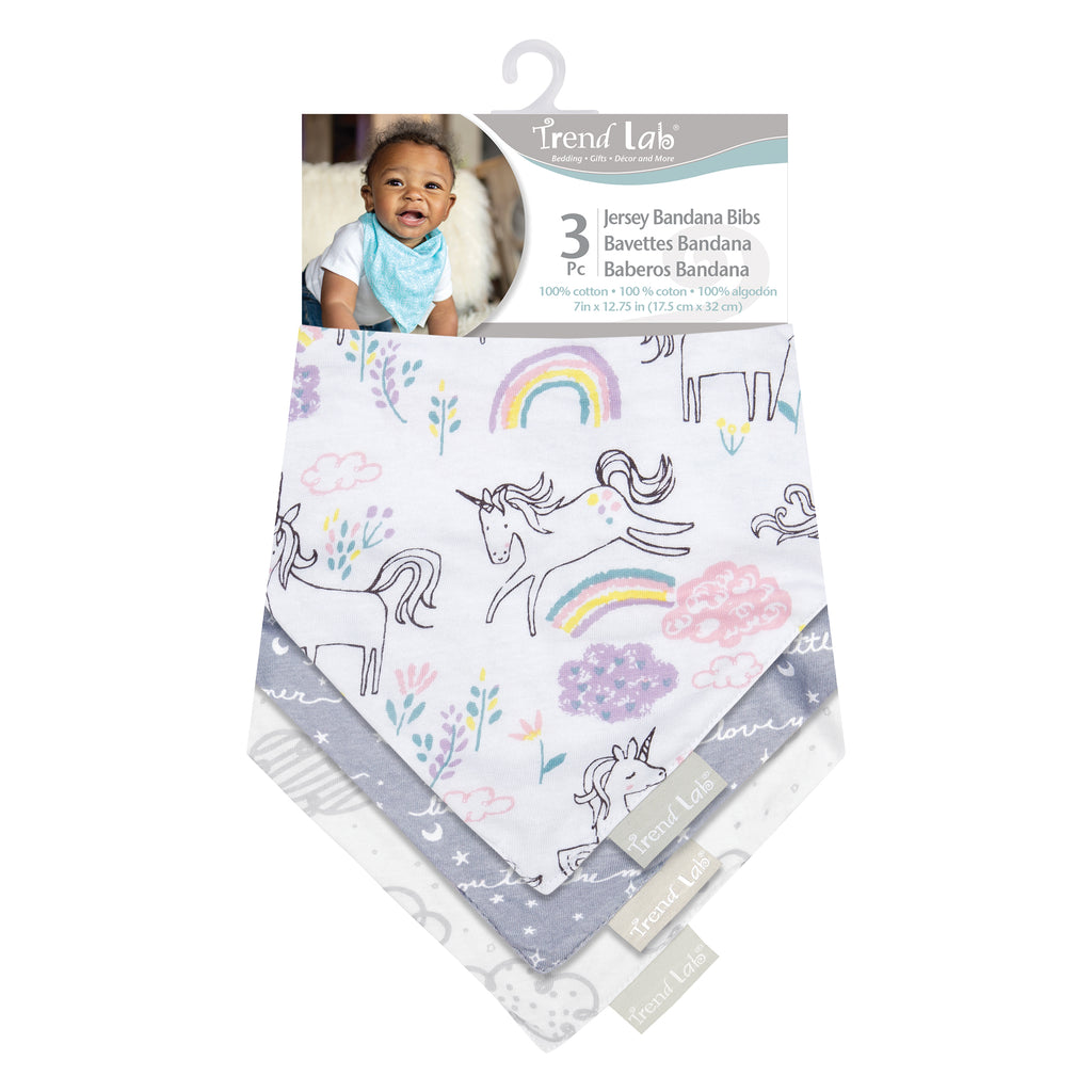 Unicorn Dreamer 3 Pack Jersey Bandana Bib Set Trend Lab, LLC